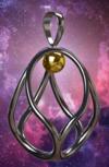 Akaija® Chram 2,3 cm silber mit goldener Kugel